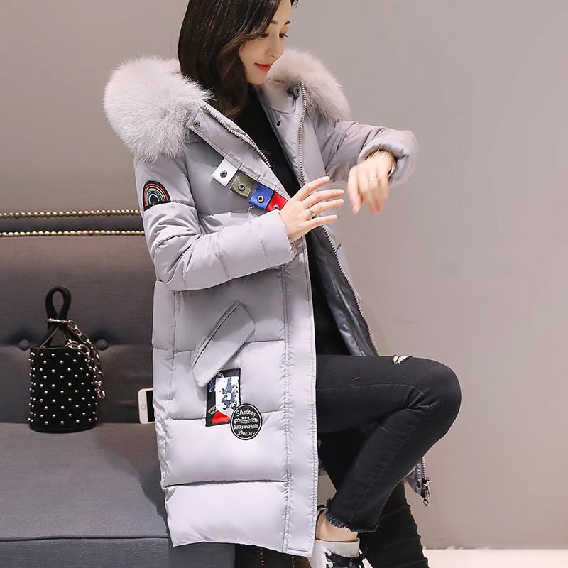 羽绒服冬装新款棉服女韩版中长款时尚钮扣大毛领修身彩虹标棉9962