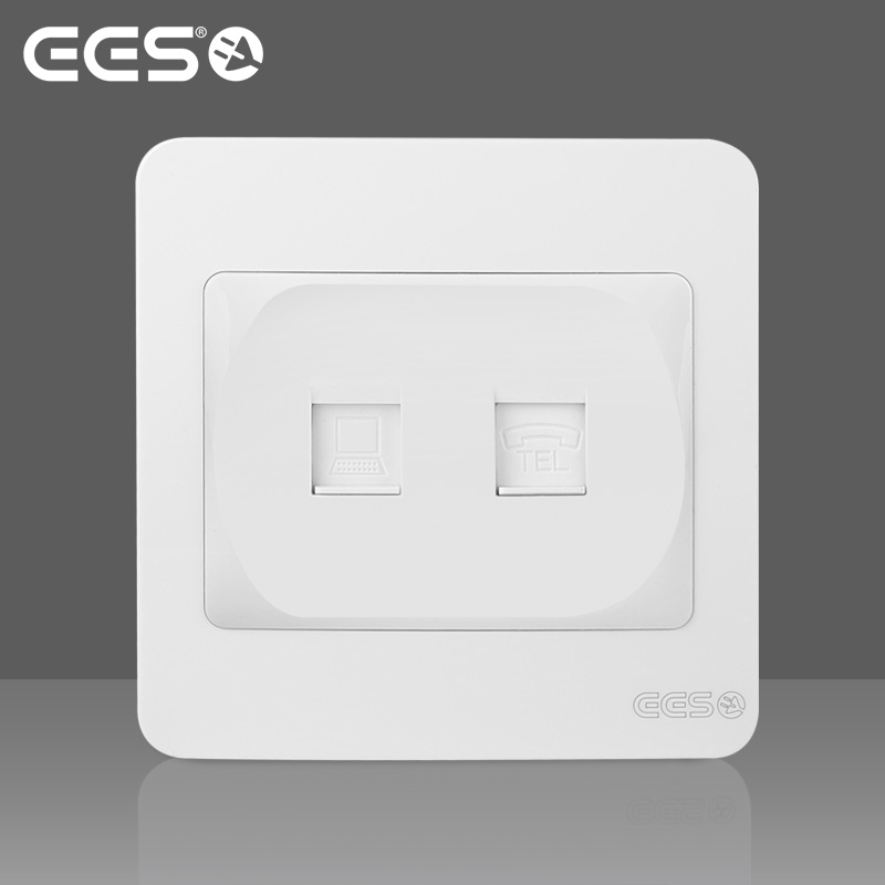 EES electrical switch socket panel keyidee sardine series elegant white telephone computer network cable socket