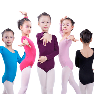 Lycra cotton clothes and children s dance clothing female Siamese Grading skirt long sleeved leotard fitness clothes body
