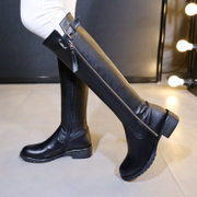 Simple thick leather boots, flat black in autumn and winter with round head high boots women skinny slip of knee boots