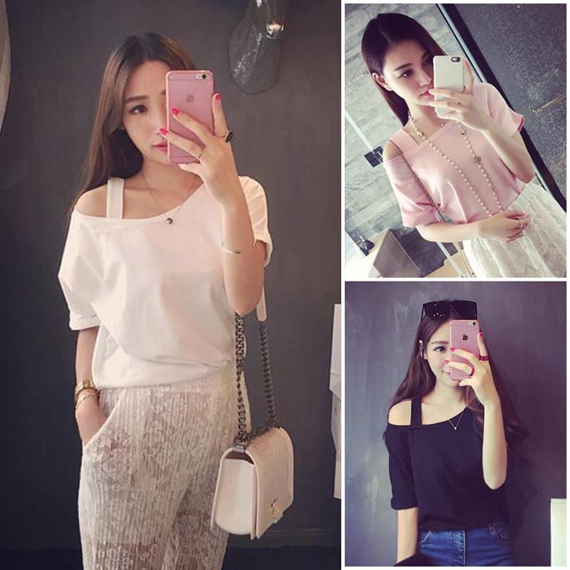 Весна лето 2016 новый стиль сексуальный с плеча плеча свободно сплошной цвет футболка женщина короткие рукава блузки шеи всплеск
