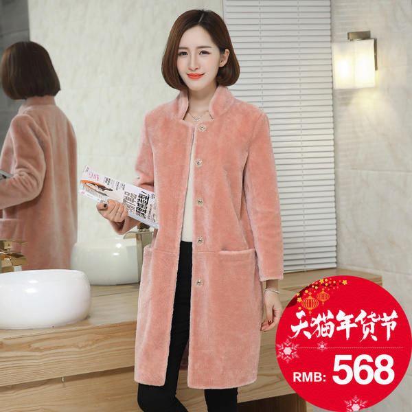2016 new Haining sheep shearing coat fur coat collar and long sections lamb's wool winter female Discounted