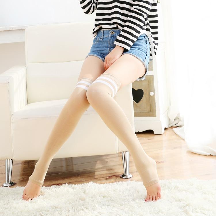 花潮花汐春夏薄棉踩脚两条杠长筒袜过膝空调房保暖护膝女高筒袜子