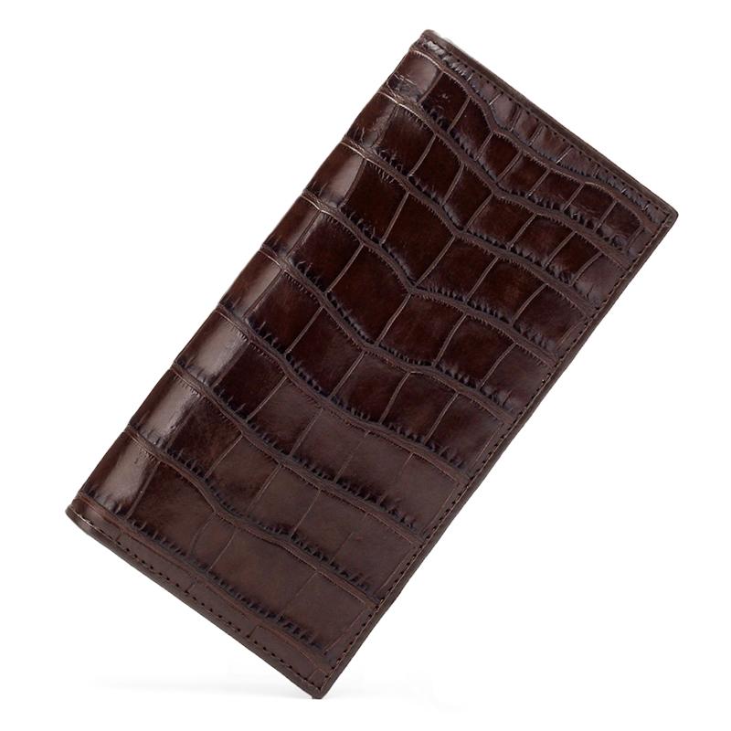 泰国进口鳄鱼皮男士西装夹钱包 两折长款肚皮钱夹包 无拼接 正品