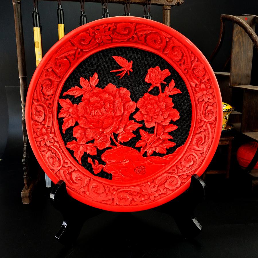 老北京特色礼物漆雕工艺品摆件漆器漆盘摆件礼盒包装单位文化礼品