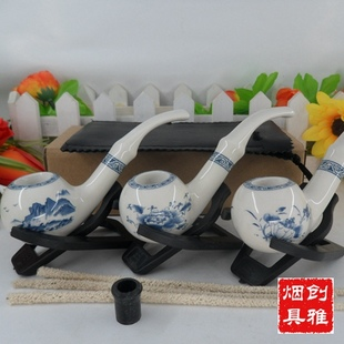 Quintessence of blue and white ceramic pipe ceramic smoking pipe medium blue and white porcelain high grade pipe