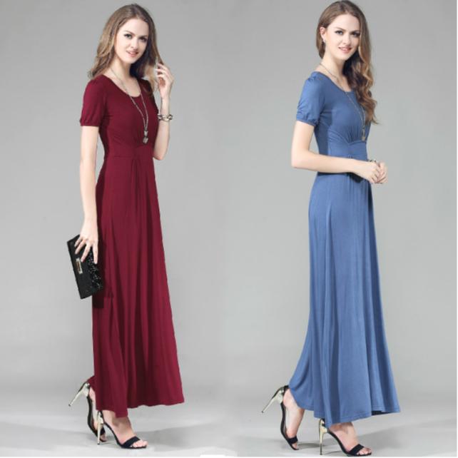 2020新款莫代尔夏季大码显瘦短袖连衣裙长款收腰修身气质长裙女夏 ¥79元