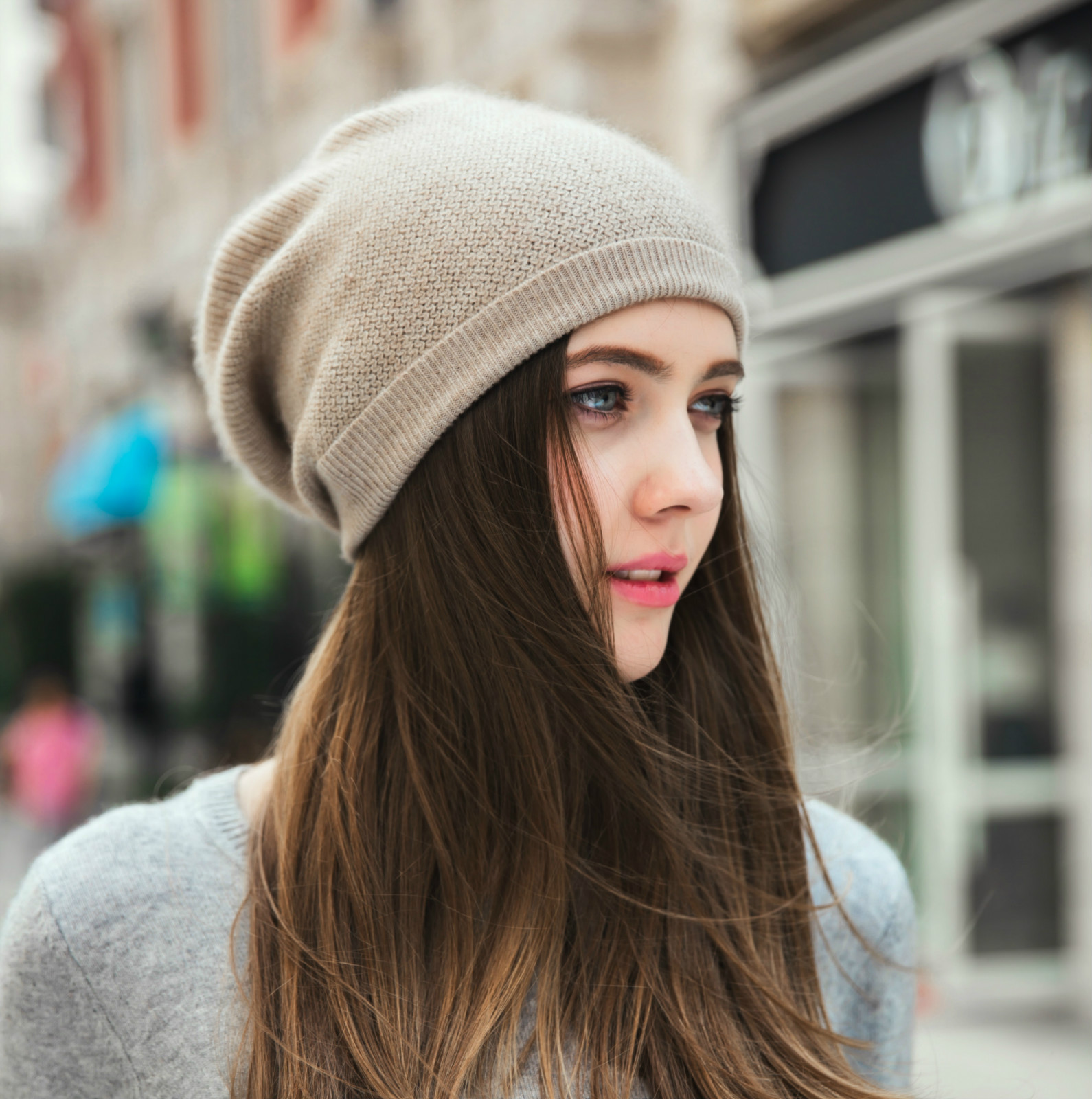 Autumn and winter cashmere hat womens winter Korean version versatile ear protection warm knitted hat pile flanging knitted hat