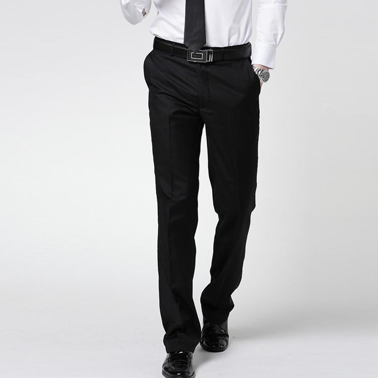 Summer mens trousers pure black dark twill slim fashion casual business dress work versatile pants
