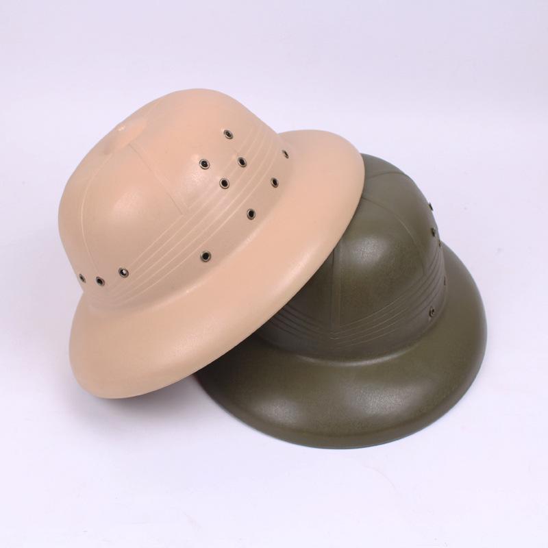 越南帽子将军帽加厚塑料透气防雨盔帽户外军迷头盔中山帽飞碟帽