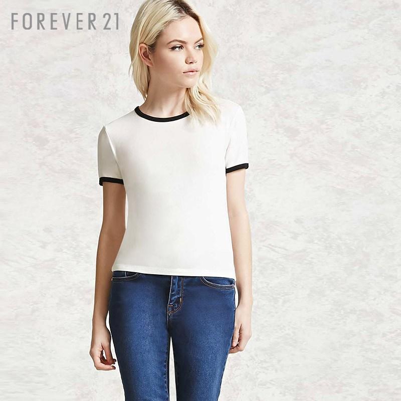 羅紋撞色衣邊圓領短袖T恤 Forever21T恤