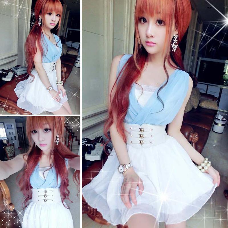 清纯yy网络直播女主播上镜少女装衣服甜美可爱夏天假两件连衣裙仙