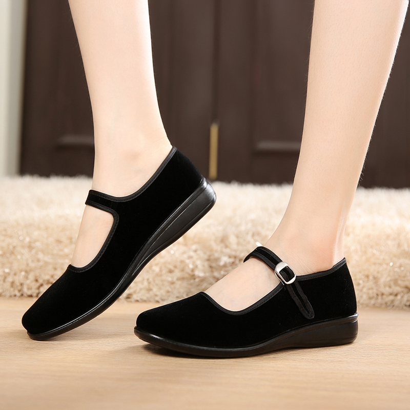 Authentic old Beijing cloth shoes summer and autumn black hotel etiquette work square dance shoes soft sole flat heel womens single shoes