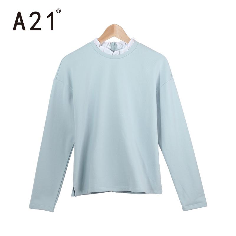 A21女裝圓領長袖套頭衛衣 2016秋裝新品簡約百搭荷葉地領女上衣