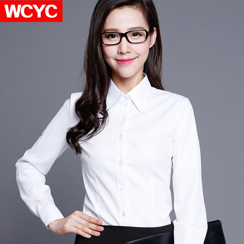 棉春秋款白襯衫女長袖職業V領修身工作服正裝大碼襯衣女裝ol