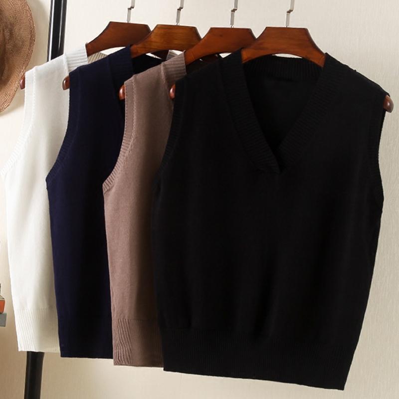 2019新款韩版外穿无袖欧货针织v领马甲短款坎肩背心女春chic毛衣