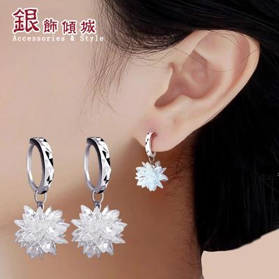 S925 серебряное серьги серьги цветок кристалл уши длинные Южной Корее гипоаллергенных ювелирные изделия кольца Аксессуары для новобрачных