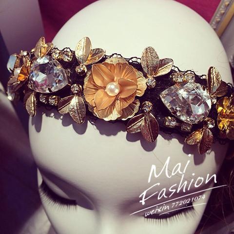 Высокой золотой барокко ручной работы пользовательских эксклюзивные пятно Бао каменный цветок оголовье широкого кружевной воротник