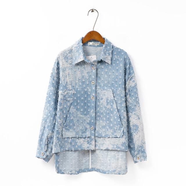 XD осень/зима женщин оптовой новой корейской версии отверстие в снегу сладкий свободно джинсовой куртки пальто