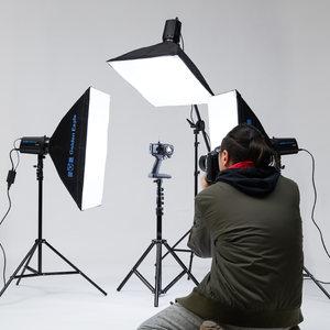 金鹰250W闪光灯摄影灯套装柔光箱摄影棚淘宝拍照静物拍摄补光灯具