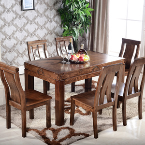 水曲柳餐桌全实木餐桌椅组合现代中式住宅家具一桌六椅长方形饭桌