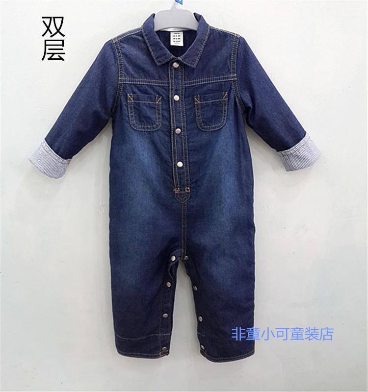 Осенняя внешней торговли Детская одежда Детская одежда baby onesies, начиная с двойной мытый деним HA одежда восхождение одежды