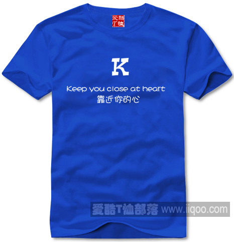 English alphabet T-shirt K close to your heart pure cotton short sleeve round neck straight body culture shirt, all field package mail