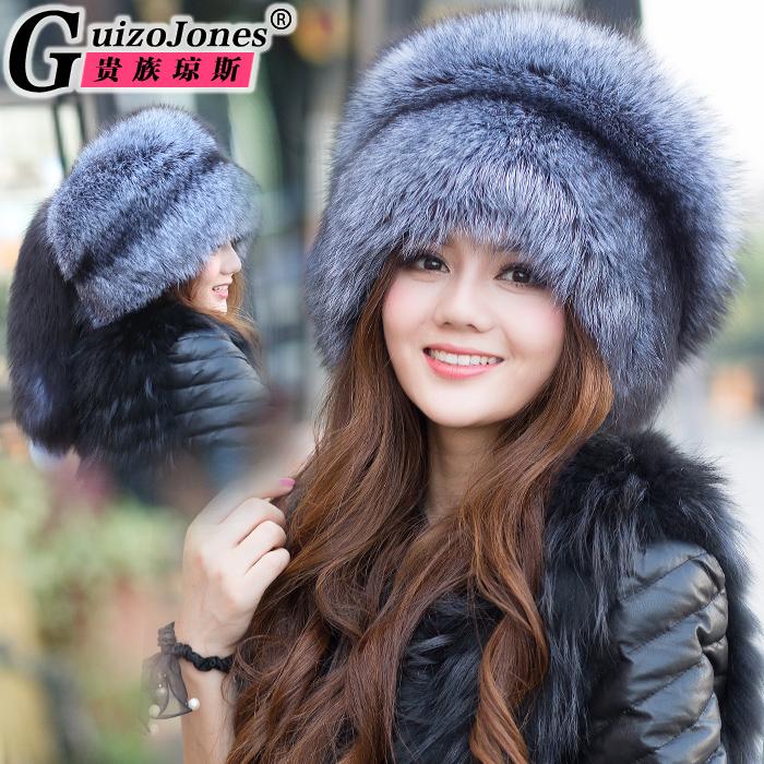贵族琼斯 冬季狐狸毛帽子 银狐大尾巴 皮草帽子蒙古帽子女士款