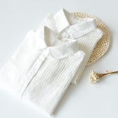 秋装新款小清新麻花拼接长袖衬衫 文艺翻领白色打底衬衣女装