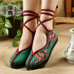 Authentic Chinese style of Chinese dance embroidered shoes laced folk style shoes old Beijing cloth shoes women's Lotus