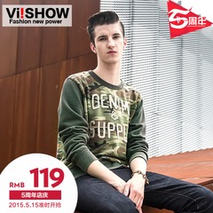 Viishow2015 spring men's pullovers round neck slim fit jacket camouflage printed stitching letter sweater men