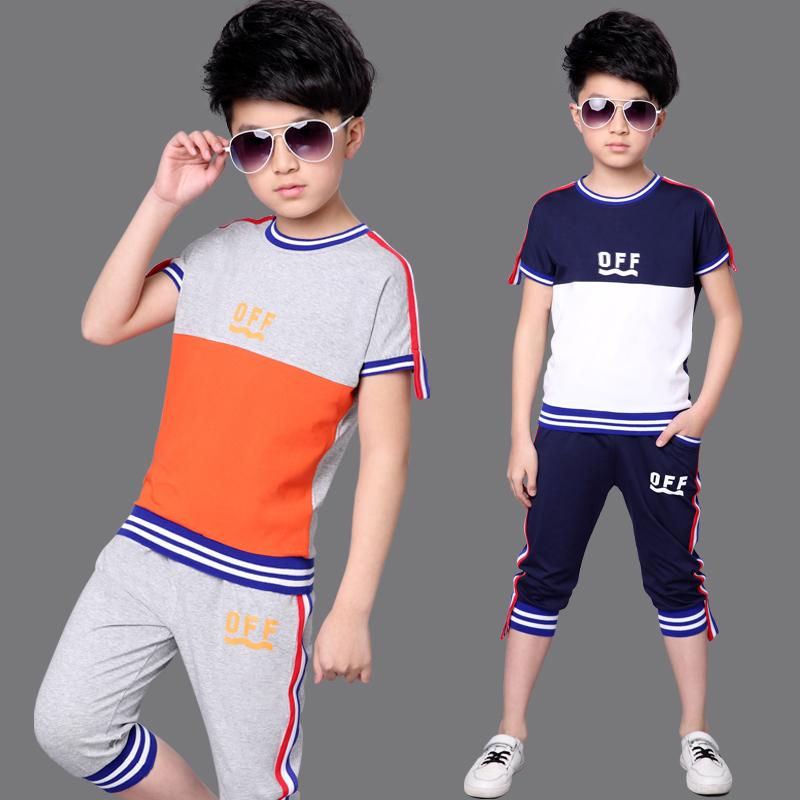 Ребятишки мальчиков летний костюм установите 2017 новый ребенок лето мальчик короткий рукав 11 заправила 12 мужской 13 полный год 15