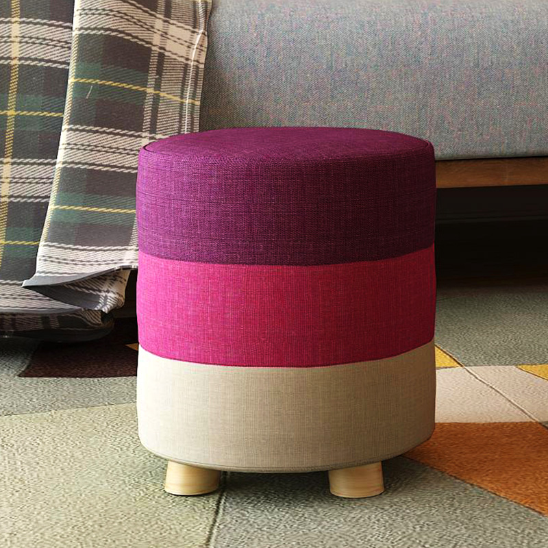 佰澤換鞋凳 圓凳實木矮凳 穿鞋凳布藝沙發凳板凳兒童小凳子
