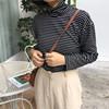 Весенний и осенний сбор. женщины облегающий, южнокорейская версия тонкий полоса высокий воротник свитер женщина с длинными рукавами T футболки порт ветер дикий куртка волна