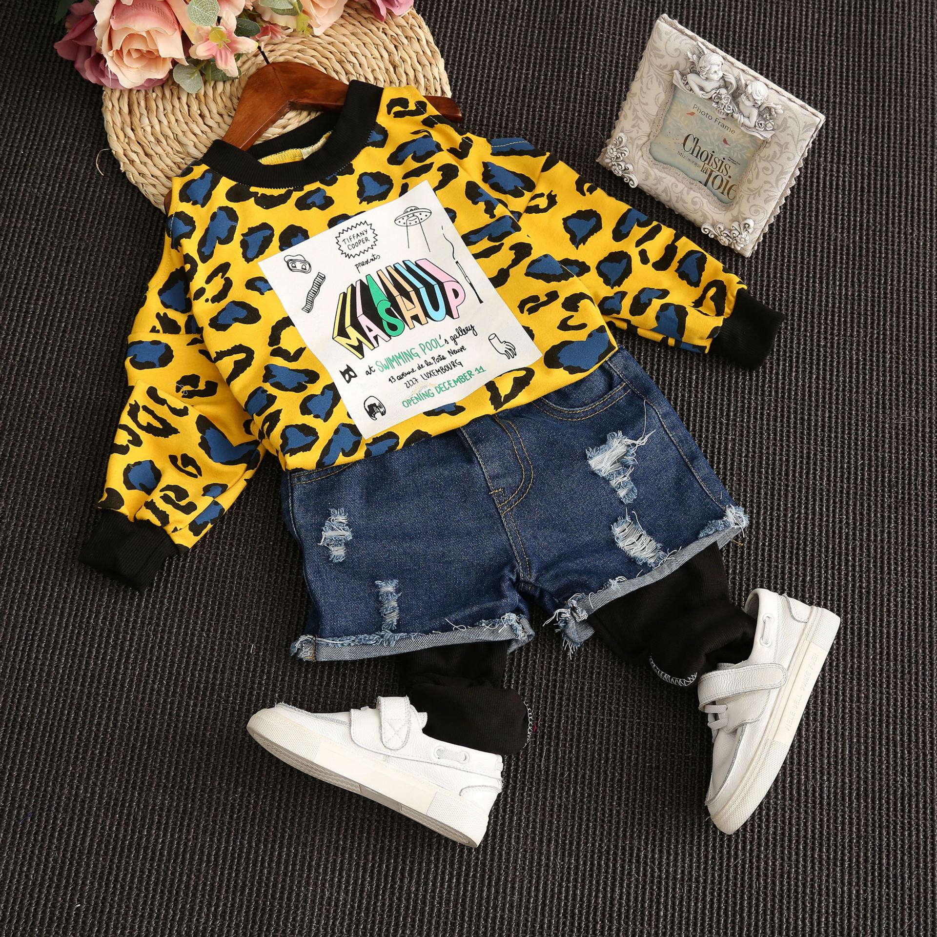 Пружина 2017 Новый Детский свитер девушки Сексуальная бретелек леопардовым принтом верхняя рубашка длинный рукав т волны корейской версии