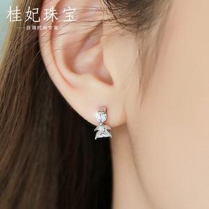 桂妃珠宝 S925银可爱小耳环韩国女气质 原创耳扣水钻耳圈银耳饰品