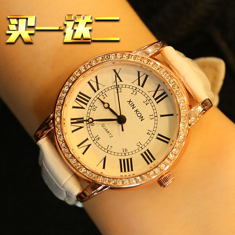 手錶女復古潮流時尚水鑽學生防水機械石英錶真皮帶羅馬字時裝女表