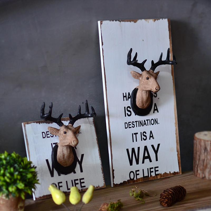 美式複古鹿頭木板畫壁飾牆壁掛飾 家居奶茶店咖啡店鋪牆麵裝飾品