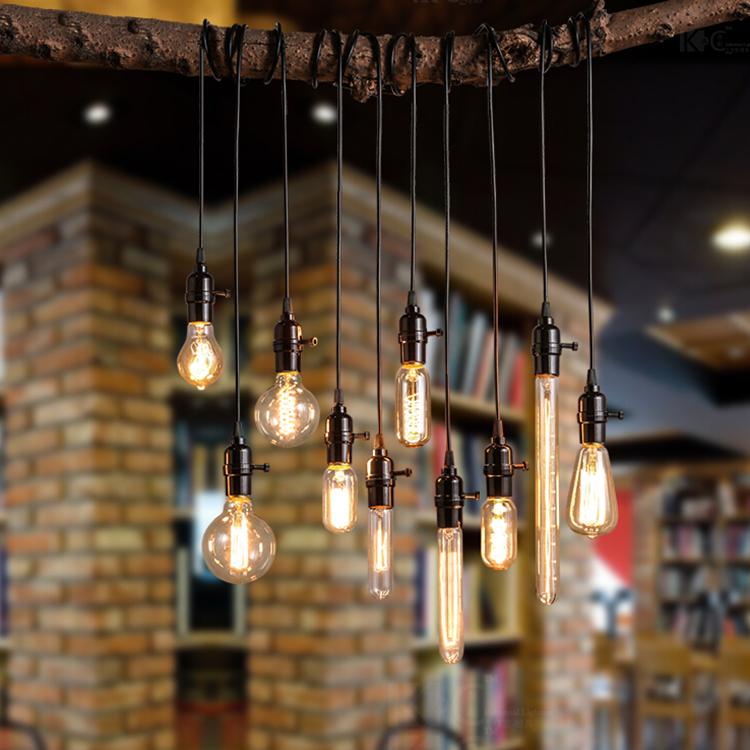 爱迪生复古钨丝灯泡吊灯酒吧服装店餐厅吧台影楼个性艺术创意灯饰
