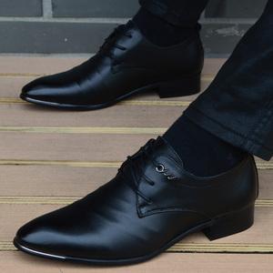 男士皮鞋内增高尖头皮鞋男英伦真皮正装商务休闲皮鞋韩版男鞋潮鞋