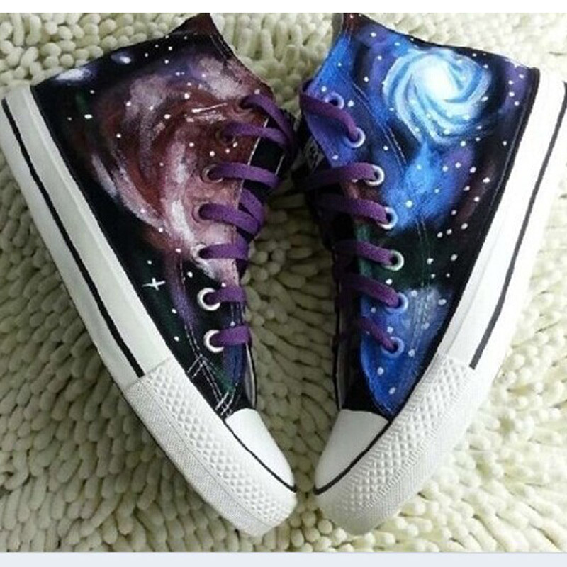 Yuansuo starry sky womens shoes canvas shoes Korean fashion mens shoes high top lovers camouflage fashion student shoes personalized shoes
