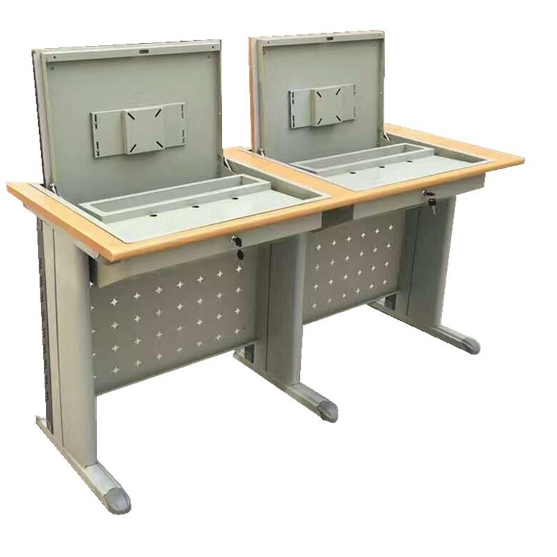 教室用讲台课桌电脑桌 带显示器翻转器 双联台面宽1500MM  可定做
