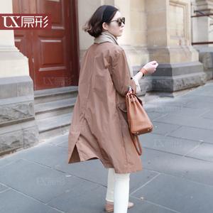原形 春装新款女装风衣 中长款宽松大码显瘦韩版女士外套薄款