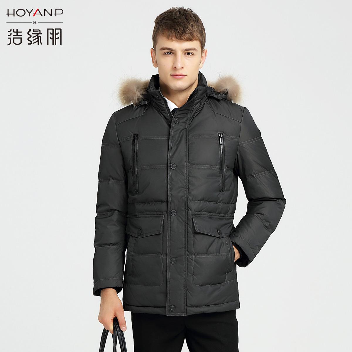 HOYANP新款中老年男士大毛领羽绒服中长款加厚冬装休闲外套yrf