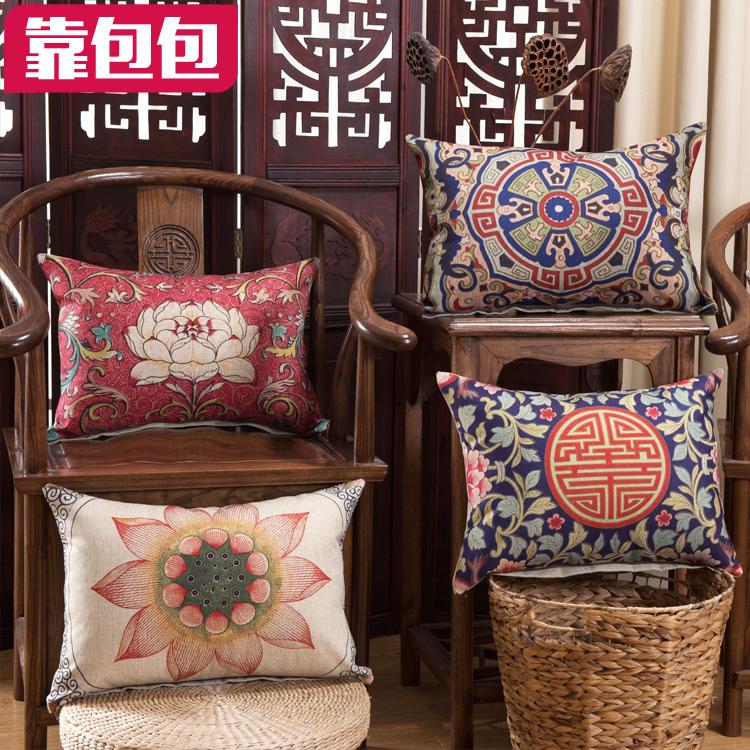 靠包包中國風中式抱枕靠墊現代新古典紅木沙發背靠辦公室汽車腰枕