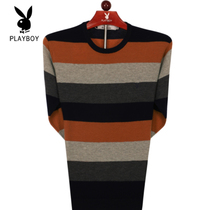Playboy Thin sweater male long-sleeved round collar sweater middle-aged man fall bottom shirt striped pure wool