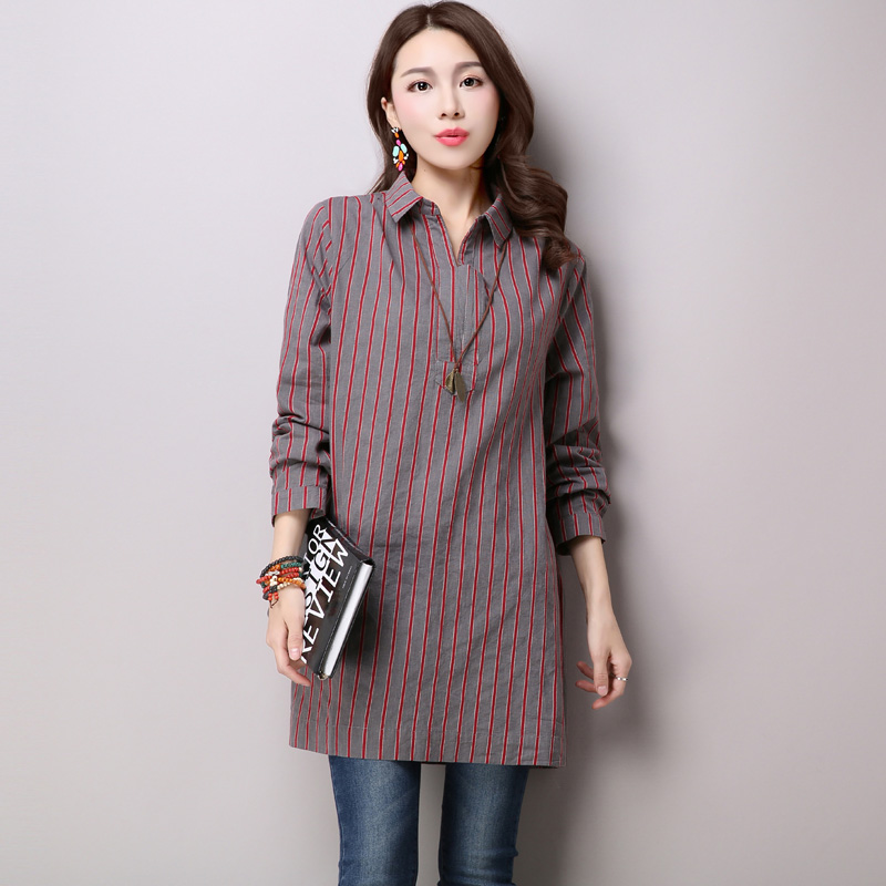 2016 autumn Korean loose large linen womens versatile medium long sleeve V-neck Cotton Linen Shirt Top