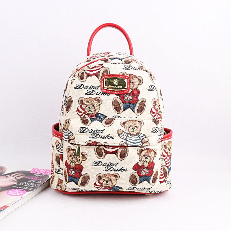 新款韩版正品天天维尼小熊背包女式双肩包可爱学生帆布书包迷你包