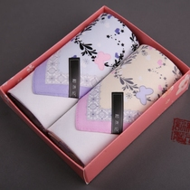 (and Wood) (Rain butterfly) Lady handkerchief pure cotton wipe out cloth with hand gift quality First