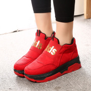 2015 new Korean version of thick-soled sneakers women's shoes in winter Le Fu, thick-soled platform shoes was wearing casual women shoes